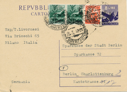 MILANO - 1948 , Ganzsache Nach Berlin-Charlottenburg - 6. 1946-.. Repubblica