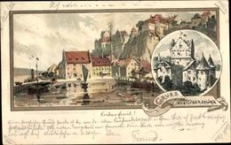 Artiste Lithographie Mutter, K., Meersburg Am Bodensee Bade Württemberg, Teilansicht Der Stadt - Andere