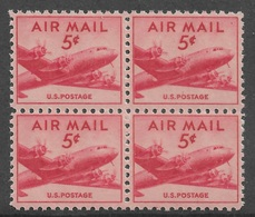 US 1947 Air Mail DC-4 Skymaster Block Of 4 Scott # C33,VF-XF MNH**OG - Airplanes