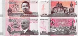 Cambodia 2014 Set 2 Pcs 100+500 Riels - Pick NEW UNC - Cambodge