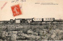 Arrivee Du Premier Train A La Gare Provisoire De Mimizan Plage - Mimizan