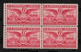 US 1949 Air Mail Alexandria Issue Block Of 4 Scott # C40,VF-XF MNH**OG - United States