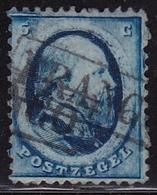 1864 Koning Willem III 5 Cent Blauw Haarlemse Druk Plaat I NVPH 4 (2e Keus) - Gebruikt