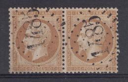SUPERBE FRAPPE DU GC 1485 Sur PAIRE NAPOLEON N° 21 10c BISTRE - 1862 Napoléon III