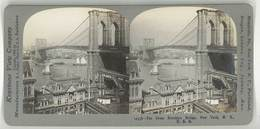 Photo Stéréoscopique - Brooklyn Bridge New-York , USa - Photos Stéréoscopiques