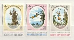 Nouvelles Hébrides 1969 SGF153-5 Pentecost Island Land Divers Set Of 3 - Leyenda Francesa