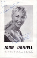 Autographe Handtekening Vedette  Théatre Opera Joan Daniell - Autographes