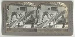 Photo Stéréoscopique - A Chinese Saw-Mill , Pelink, China ( Chine, Bois, Scieurs De Long ) - Photos Stéréoscopiques