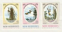 New Hebrides 1969 135-37Land DiverNH 3v - Leyenda Inglesa