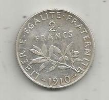 Monnaie ,2 Francs ,1910 , 2 Scans , Argent - Frankreich