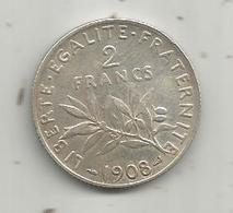 Monnaie ,2 Francs ,1908 , 2 Scans , Argent - France