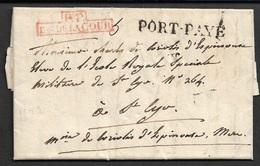 Vers 1819 - LAC Port Payé - BUREAU SPECIAUX - P.P / Bau DE LA COUR - Ecrit A  ECOLE ROYALE IMPERIALE MILITAIRE - Marcophilie (Lettres)