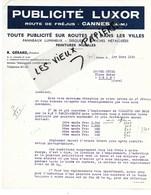 06 - Alpes-maritime - CANNES - Facture GERARD - Publicité LUXOR - 1939 - REF 113A - France