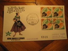ESPERANTO Alicante 1971 Cancel Cover Cervantes Quijote Psychiatry Stamps SPAIN - Esperanto