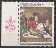 "1116 Paraguay 1968 "" Cena In Emmaus "" - Quadro Dipinto Da Caravaggio - Nuovo MNH Barocco Paintings Tableaux - Religione"