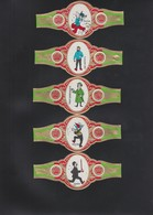 SIGAREBANDEN-GRAAF TILLY-5 BANDEN-GROOT FORMAAT-KUIFJE-TINTIN+MILOU-VINTAGE-GRAND FORMAT+-5-12 CM-VOYEZ LES 2 SCANS-RARE - Cigar Bands