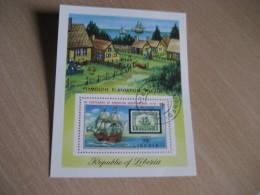 MONROVIA Liberia 1976 Cancel Yvert 75 Air Mail Bloc Plymouth Plantation Village Stamp On Stamp USA Bicentennial - Liberia