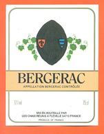 étiquette Vin De Bergerac Les Chais Réunis à Fléville - 75 Cl - Bergerac