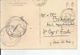 """OBLITERATION   """"   37 éme Regiment D'aviation """" MARRAKECH - Marcophilie (Lettres)"""