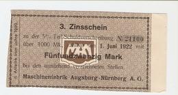 T. Germany 3. Zinsschein Maschinenfabrik Augsburg Nurnberg AG Coupon Kupon 1922 No. 21100 - Germany