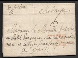 1743 - LAC - DE SAARLOUIS ( SARRE ) A PARIS A MADAME LA MARQUISE D'AULAN - RARE - Marcophilie (Lettres)