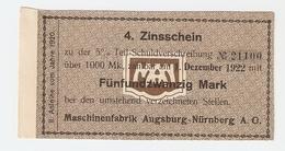 T. Germany 4. Zinsschein Maschinenfabrik Augsburg Nurnberg AG Coupon Kupon 1922 No. 21100 - Germany