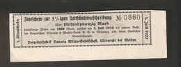T. Germany 1. Zinsschein Porzellanfabrik Bavaria Coupon Kupon 1922 No. 0880 Watermark - Germany