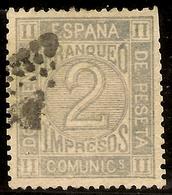 ESPAÑA Edifil 116 (º) 2 Céntimos Gris   Corona Real,cifras,Amadeo  1872  NL871 - 1872-73 Reino: Amadeo I