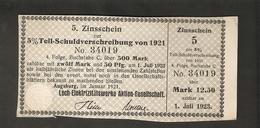 T. Germany 5. Zinsschein Lech Elektrizitatswerke Aktien Gesellschaft Coupon Kupon 1921 / 1923 No. 34019 Watermark - Germany