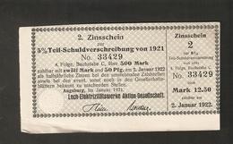 T. Germany 2. Zinsschein Lech Elektrizitatswerke Aktien Gesellschaft Coupon Kupon 1921 - 1922 No. 33429 Watermark - Germany