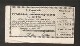 T. Germany 2. Zinsschein Lech Elektrizitatswerke Aktien Gesellschaft Coupon Kupon 1921 - 1922 No. 33428 Watermark - Germany