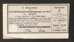 T. Germany 2. Zinsschein Lech Elektrizitatswerke Aktien Gesellschaft Coupon Kupon 1921 - 1922 No. 33427 Watermark - Germany