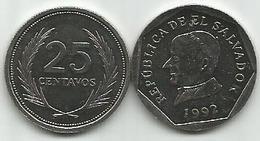El Salvador 25 Centavos 1992. KM#157a - Salvador