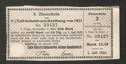 T. Germany 3. Zinsschein Lech Elektrizitatswerke Aktien Gesellschaft Coupon Kupon 1921 - 1922 No. 33427 Watermark - Germany