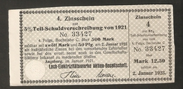 T. Germany 4. Zinsschein Lech Elektrizitatswerke AG Coupon Kupon 1921 - 1922 No. 33427 Watermark - Germany