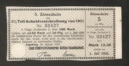 T. Germany 5. Zinsschein Lech Elektrizitatswerke AG Coupon Kupon 1921 - 1922 No. 33427 Watermark - Germany
