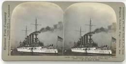 Photo Stéréoscopique -  The Missouri ? Battle Ship ( Bateau De Guerre, Usa ), Oyster Bay - Photos Stéréoscopiques