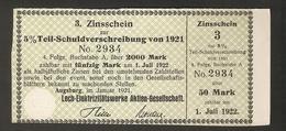 T. Germany 3. Zinsschein Lech Elektrizitatswerke AG Coupon Kupon 1921 - 1922 No. 2934 Watermark - Germany