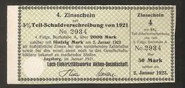 T. Germany 4. Zinsschein Lech Elektrizitatswerke AG Coupon Kupon 1921 - 1923 No. 2934 Watermark - Germany