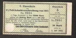 T. Germany 5. Zinsschein Lech Elektrizitatswerke AG Coupon Kupon 1921 - 1923 No. 2934 Watermark - Germany