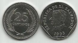 El Salvador 25 Centavos 1993. KM#157b - Salvador