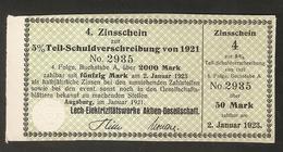 T. Germany 4. Zinsschein Lech Elektrizitatswerke AG Coupon Kupon 1921 - 1923 No. 2935 Watermark - Germany