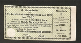 T. Germany 3. Zinsschein Lech Elektrizitatswerke AG Coupon Kupon 1921 - 1923 No. 2936 Watermark - Germany