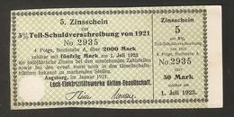 T. Germany 5. Zinsschein Lech Elektrizitatswerke AG Coupon Kupon 1921 - 1923 No. 2935 Watermark - Germany