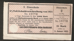 T. Germany 2. Zinsschein Lech Elektrizitatswerke AG Coupon Kupon 1921 - 1922 No. 18773 Watermark - Germany