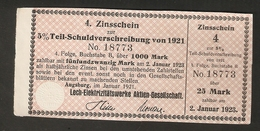 T. Germany 4. Zinsschein Lech Elektrizitatswerke AG Coupon Kupon 1921 - 1923 No. 18773 Watermark - Germany