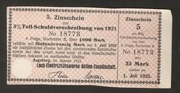 T. Germany 5. Zinsschein Lech Elektrizitatswerke AG Coupon Kupon 1921 - 1923 No. 18773 Watermark - Germany