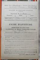 55 CHAMPLON Par ETAIN Fiche D'Aptitude M.T Marchand 1947 - 48 Cours Moyen - Diplômes & Bulletins Scolaires