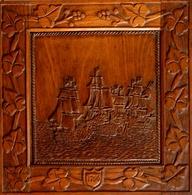 """Gravure Sur Bois Représentant Le Combat Du """"Vengeur"""" Au Large D'Ouessant Le 1er Juin 1794 - Bateaux"""