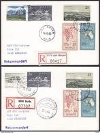 NORWAY - JAN MAYEN 14.8.80 (old Postmark) + 15.8.80 (new Postmark). Note The Zipcodes!! Registered Letters. - Polarmarken